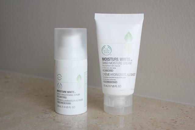the body shop moisture white shiso brightening serum and moisture cream review