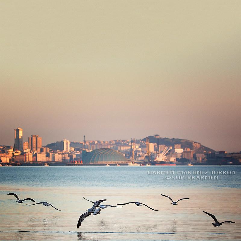 Amanece en Coruña, vista desde Santa Cruz.