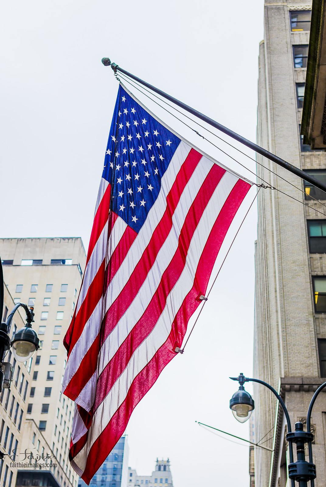 American flag waving in Manhattan