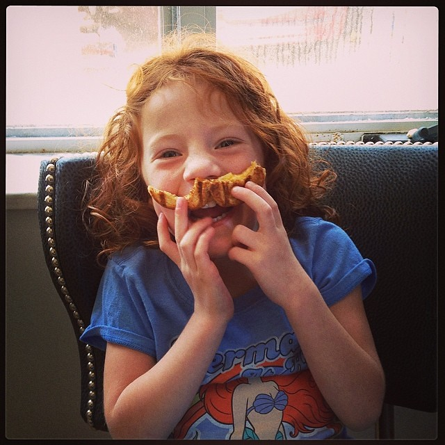 Grilled cheese mustache. #stevensonpartyof5 #mustache