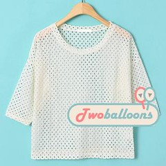 Short Sleeve Perforated Top