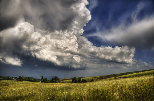 sky nature grass sunshine clouds landscape countryside rainbow serbia hills fields rajac