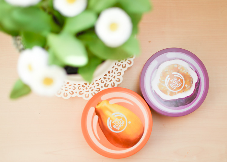 The Body Shop Body Butters in Papaya and Passion Fruit