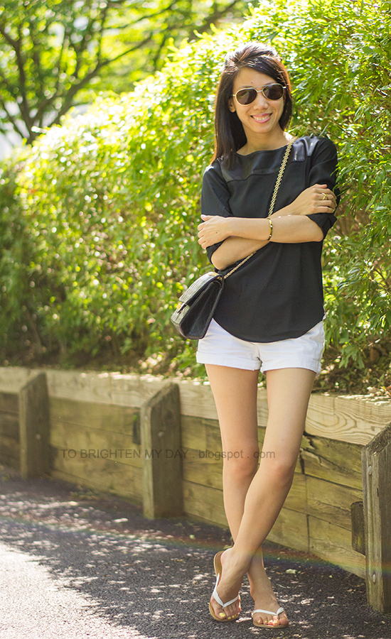 black faux leather yoke top, white shorts
