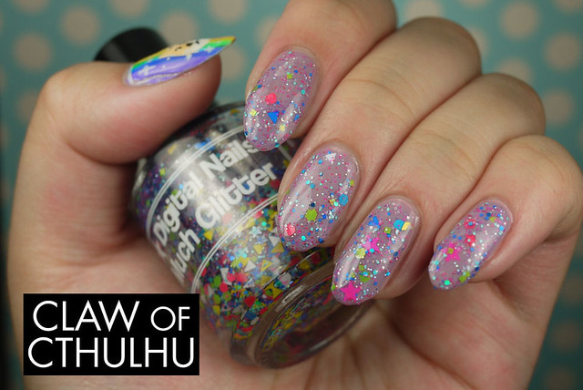 Digital Nails Much Glitter Swatch (over Essence Love Me, Cupcake!)