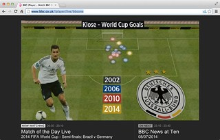 """Keep your friend close and your enemies Klose"" Goal hanger Miroslav Klose #WorldCup Goals for Germany @DFB_Team via Match of the Day @BBCSport #BRAvsGER @bbcmotd"
