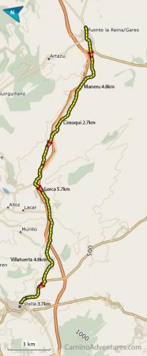 Puente-la-Reina-to-Estella-map-206x500