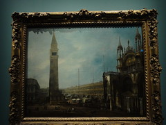 Oil painting of Venice's St Mark's Campanile, with St Mark's Basilica facing it