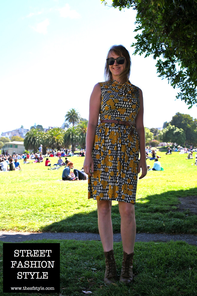 tie front sundress, kiltie lacer boots, sunglasses, san francisco fashion blog, thesfstyle, sfstyle, street fashion style,