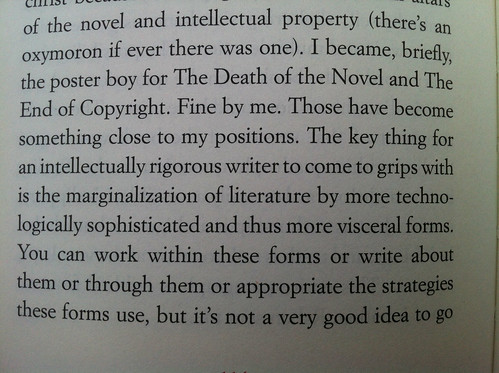 """the marginalization of literature by more technologically sophisticated and thus more visceral forms"""