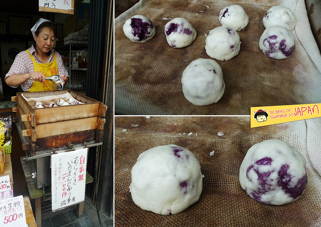 Kawagoe - steamed purple sweet potato bun - old lady shop