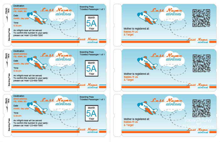 Airline Ticket Invitation Template Free diabetesmanginfo