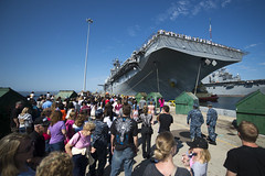 Family members gather to watch the amphibious assault ship USS Boxer (LHD 4) depart San Diego, Aug. 23 . (U.S. Navy photo by Mass Communication Specialist 2nd Class Carlos M. Vazquez II)