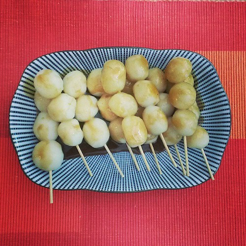 Homemade mitarashidango!! Not by me. Yum yum.