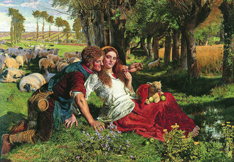 ' The Hireling Shepherd ' William Holman Hunt ( English 1827-1910 ) Oil on canvas , circa 1852. City of Manchester Art Galleries , Manchester .