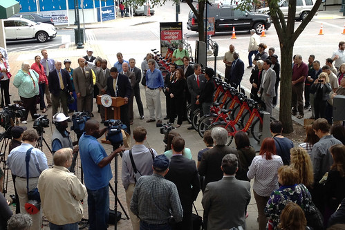 Crowd at Bikeshare Grand Opening in Rockville