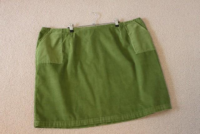 Green slime cord skirt