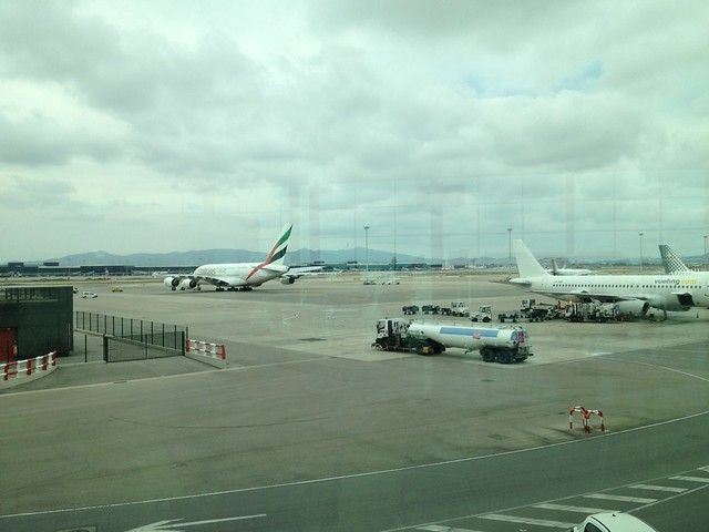 Airbus A380 in Barcelona Airport