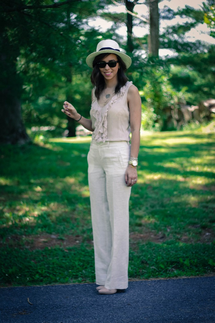 va darling. dc blogger. virginia personal style blogger. virginia blogger. linen wide leg pants. nude top. panama hat. nude heels. summer work outfit. 12