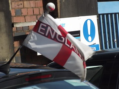 England flag on a car - New Canal Street, Eastside