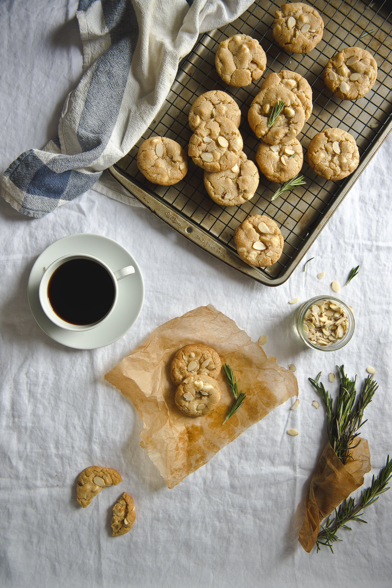 Rosemary, almond, & white chocolate cookies.