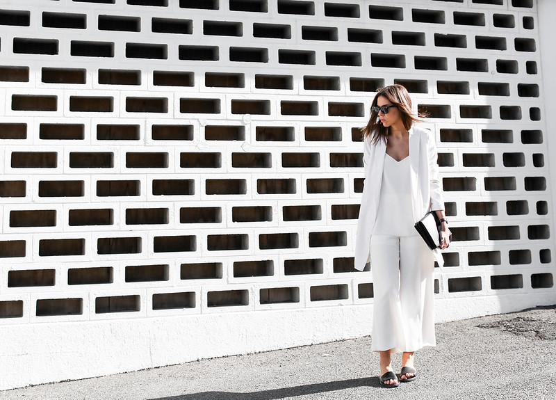 modern legacy fashion white on white street style blog Rodebjer Theyskens Theory wide culottes Camilla and Marc Zoya cami top Common Projects leather slide sandals Alexander Wang Prisma envelope clutch bag outfit work office wear (1 of 12)