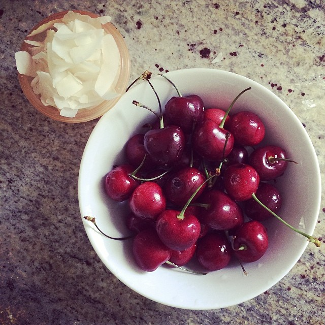 Day 6, #Whole30 - snack (cherries & coconut flakes)