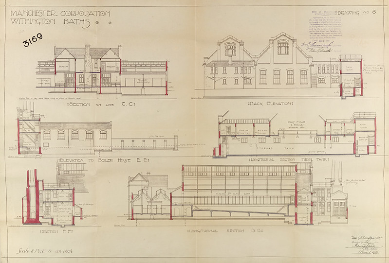 Withington Baths sections and elevations by Henry Price, 1 Mar 1911