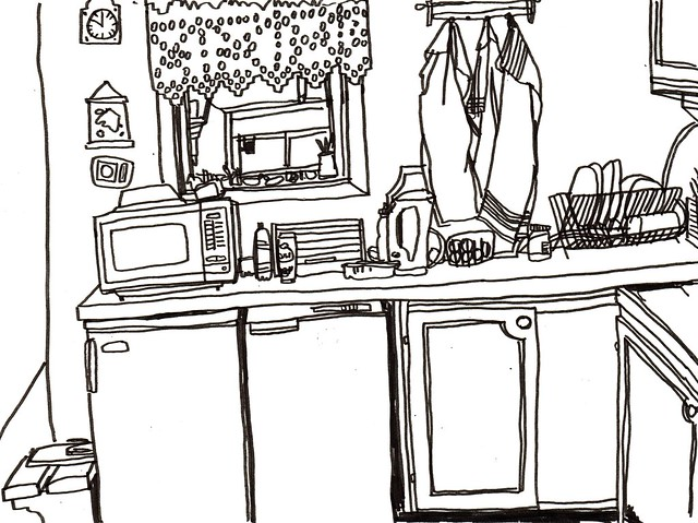 en del av ett kök