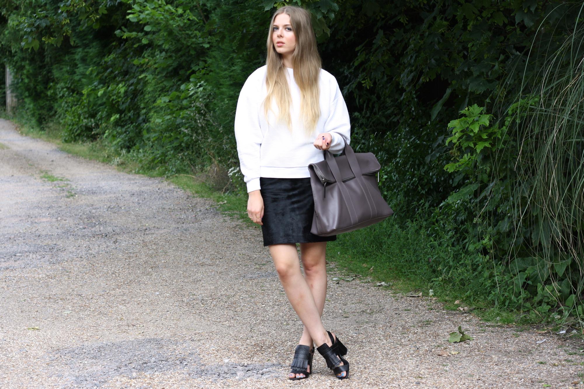 Topshop Boutique black ponyskin skirt