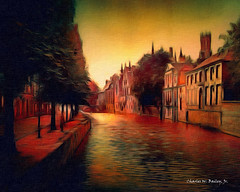Digital Oil Painting of a Bruges Canal by Charles W. Bailey, Jr.