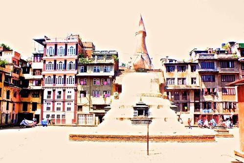 overexposed Buddhist temple in Kathmandu