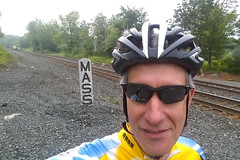 Ornoth gets a selfie at the railroad sign indicating the Massachusetts border.