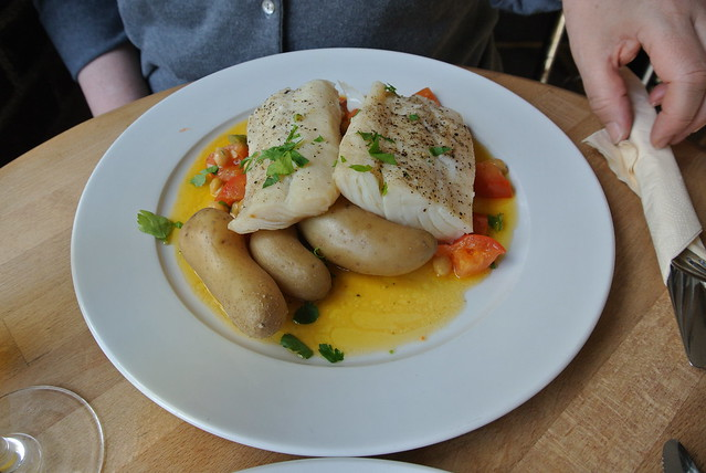 Salt Cod with tomatoes, chickpeas and potatoes