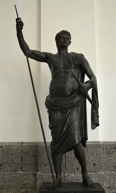 Bronze statue of Augustus as a nude hero, from the Augusteum of Herculaneum,  AD 49-50, Naples National Archaeological Museum
