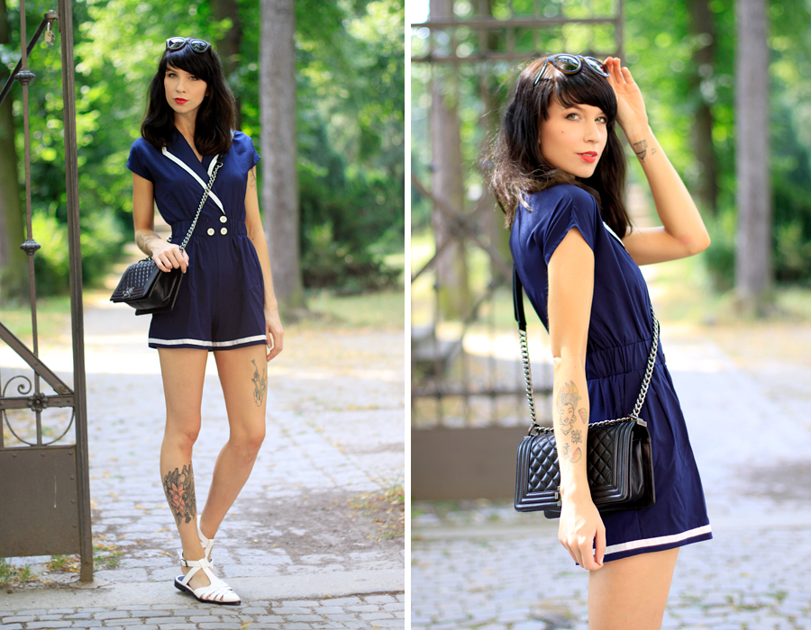 Sailor Girl Fashion Pills Compana Fantastica dress playsuit chanel le boy boybag bag luxury summer outfit OOTD Ricarda Schernus CATS & DOGS berlin blogger 2