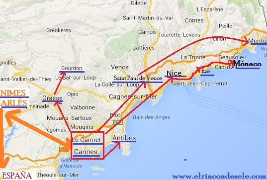 Mapa de la ruta en Provenza y Costa Azul (Francia)