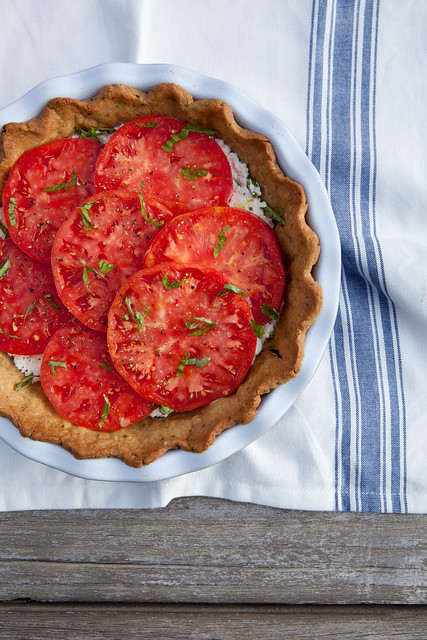 Fresh Tomato Ricotta Pie with Garlic Herb Crust | Annie's Eats