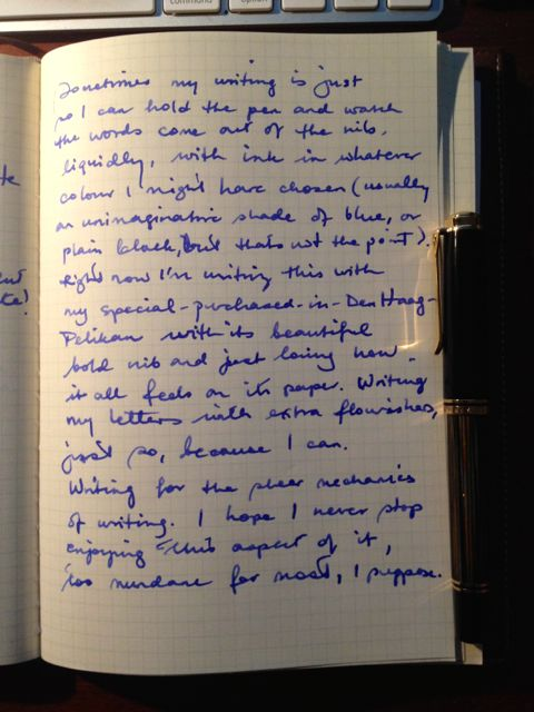 Page of writing with broad nib