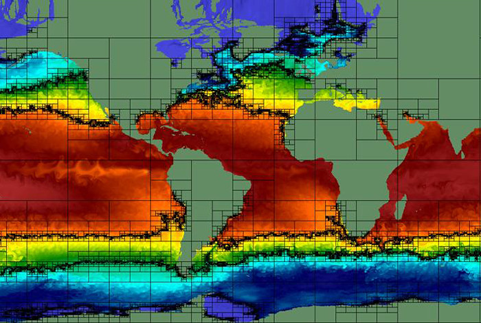Spatial partitioning for the ocean simulation data set.