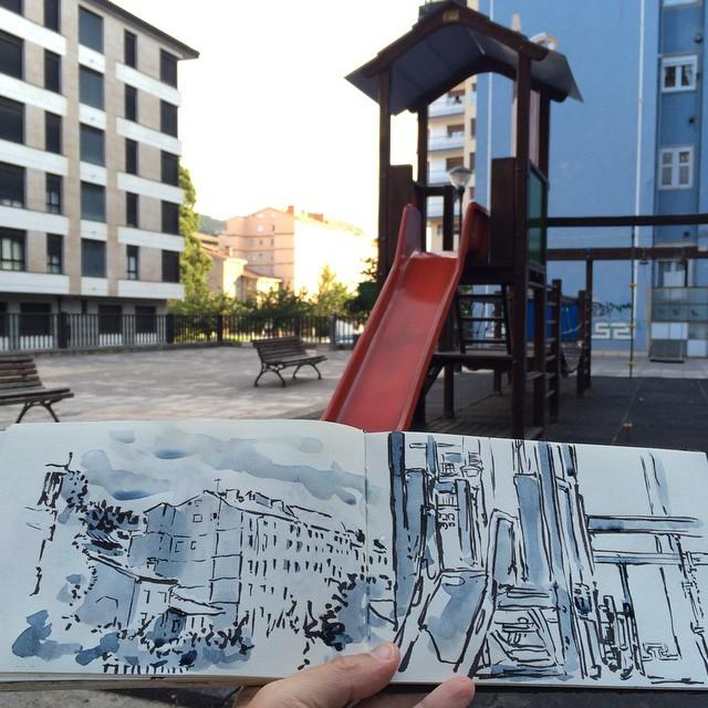 #urbansketch #pentel #watercolor #urretxu