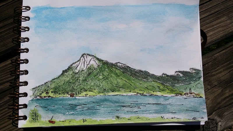 Frauenkopf drawing in pencil, pen and watercolour