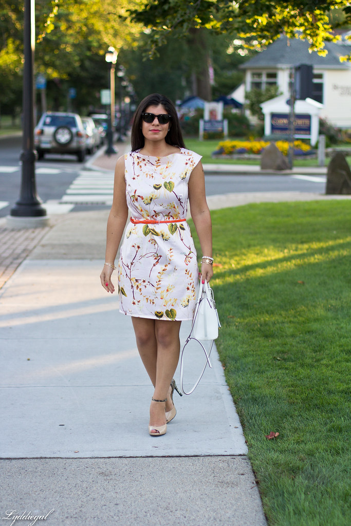 Pink Floral Print Dress, White Bag, Snake Pumps.jpg