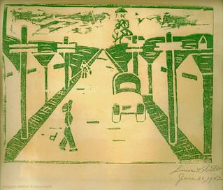 WWII Minidoka woodblock print