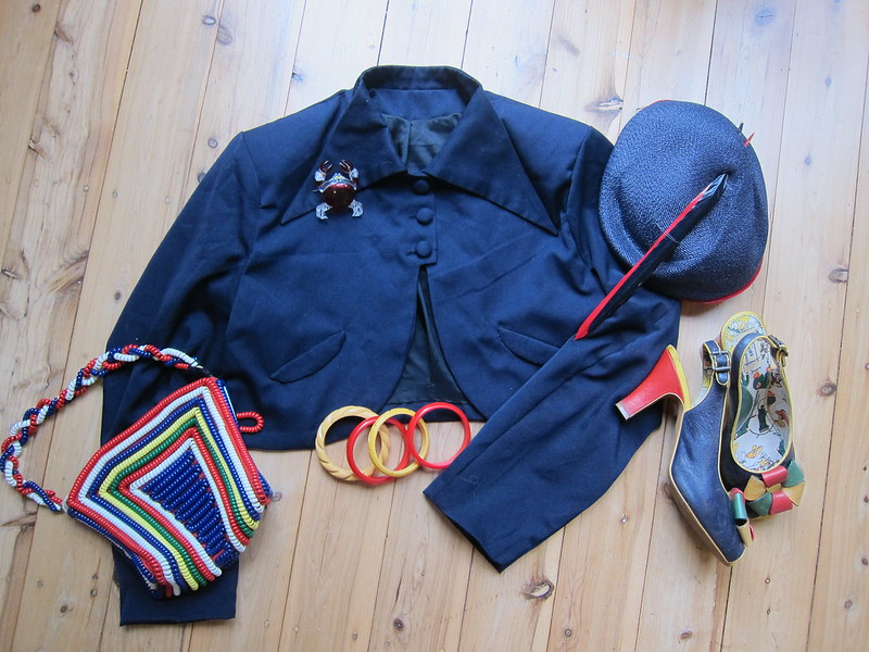 miss l fire review rosita navy telephone cord bag 1940s bolero gaberdine plus size xl bakelite bangle lucite brooch straw hat fifth ave