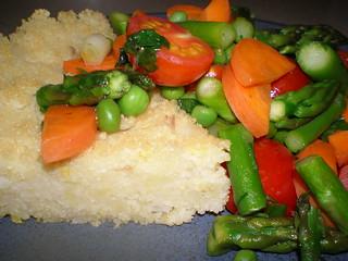 Saffron Cous Cous Cake with Spring Vegetable Saute