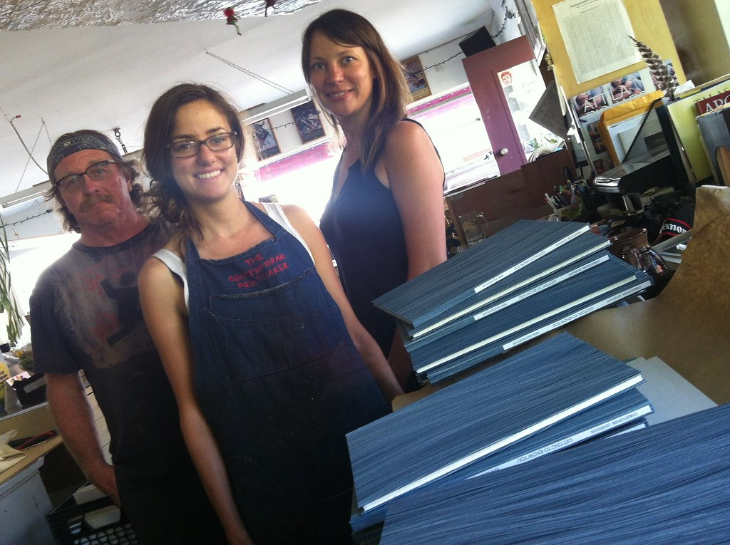 The printmaking team at New Leaf Editions