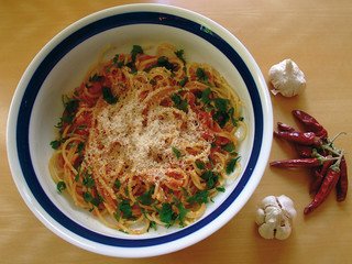 Típico plato de pasta.