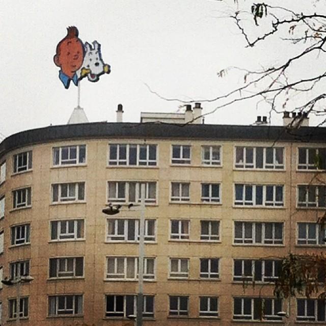 Tintín y Milú - Hergé (fecha desconocida). Avenue Paul-Henri Spaak/Paul-Henri Spaaklaan 7