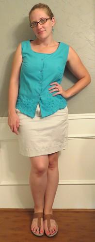 Dragonfly Blouse & Khaki Skirt - After